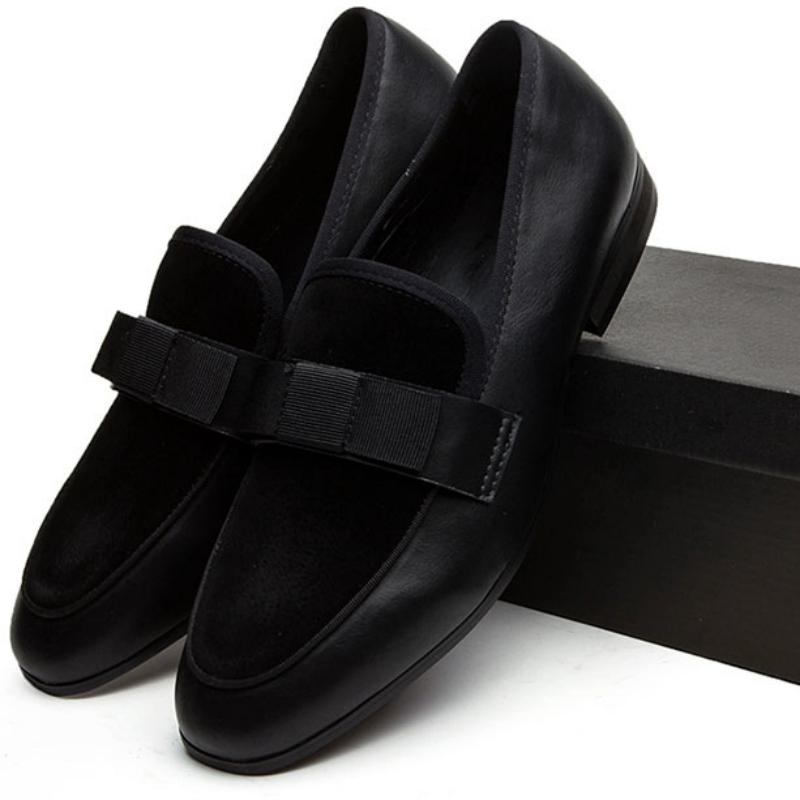 Men's Suede Loafers With Bow Tie
