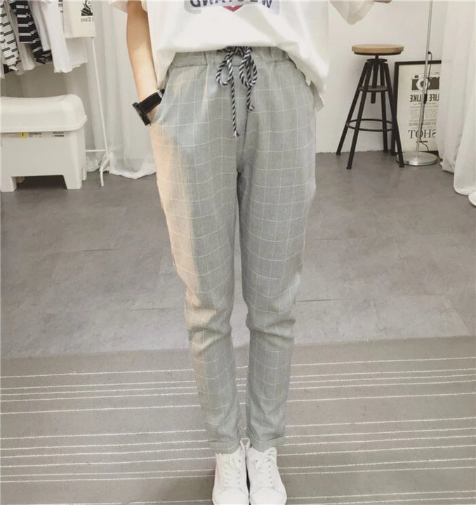 Women's Summer/Spring Casual Loose Cotton Plaid Pants