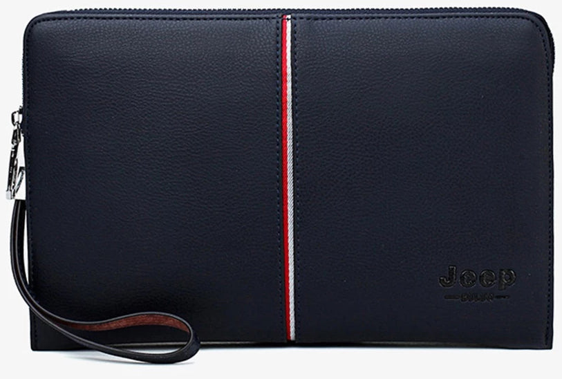 Men's Leather Clutch With Stripe