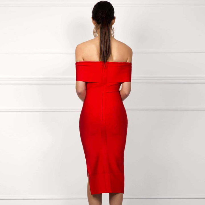 Women's Summer Off-Shoulder Polyester Sheath Dress