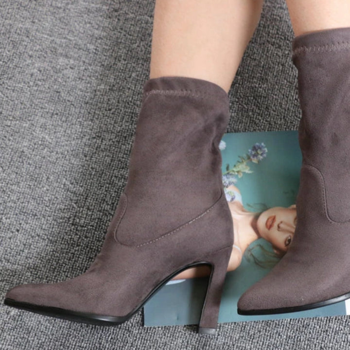 Women's Spring/Autumn Suede Ankle Boots With High Heels