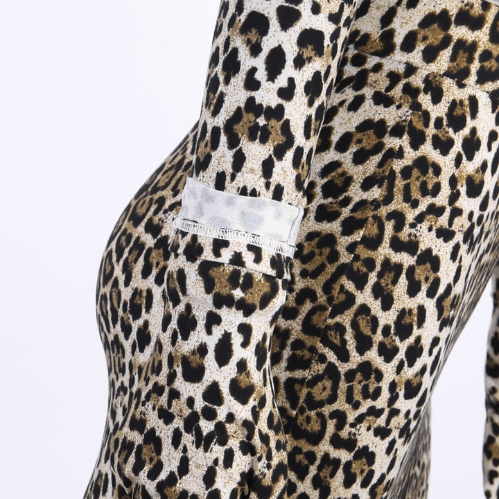 Women's Autumn Slim Stretchy Leopard Two-Piece Dress With Gloves