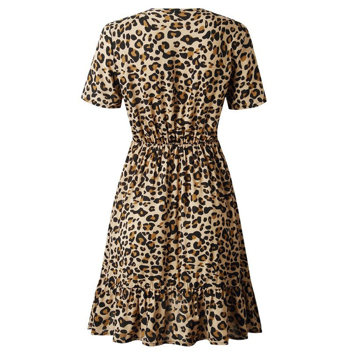 Women's Summer A-Line Mini Dress With Leopard Print
