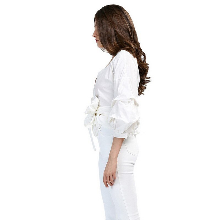 Women's Summer Cotton Long-Sleeved V-Neck Blouse With Belt