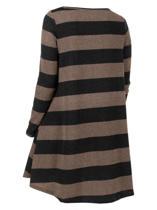 Women's Autumn Casual O-Neck Long-Sleeved Striped Sweater