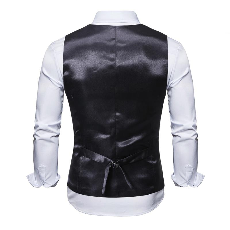 Men's Double Breasted Slim Vest With Print