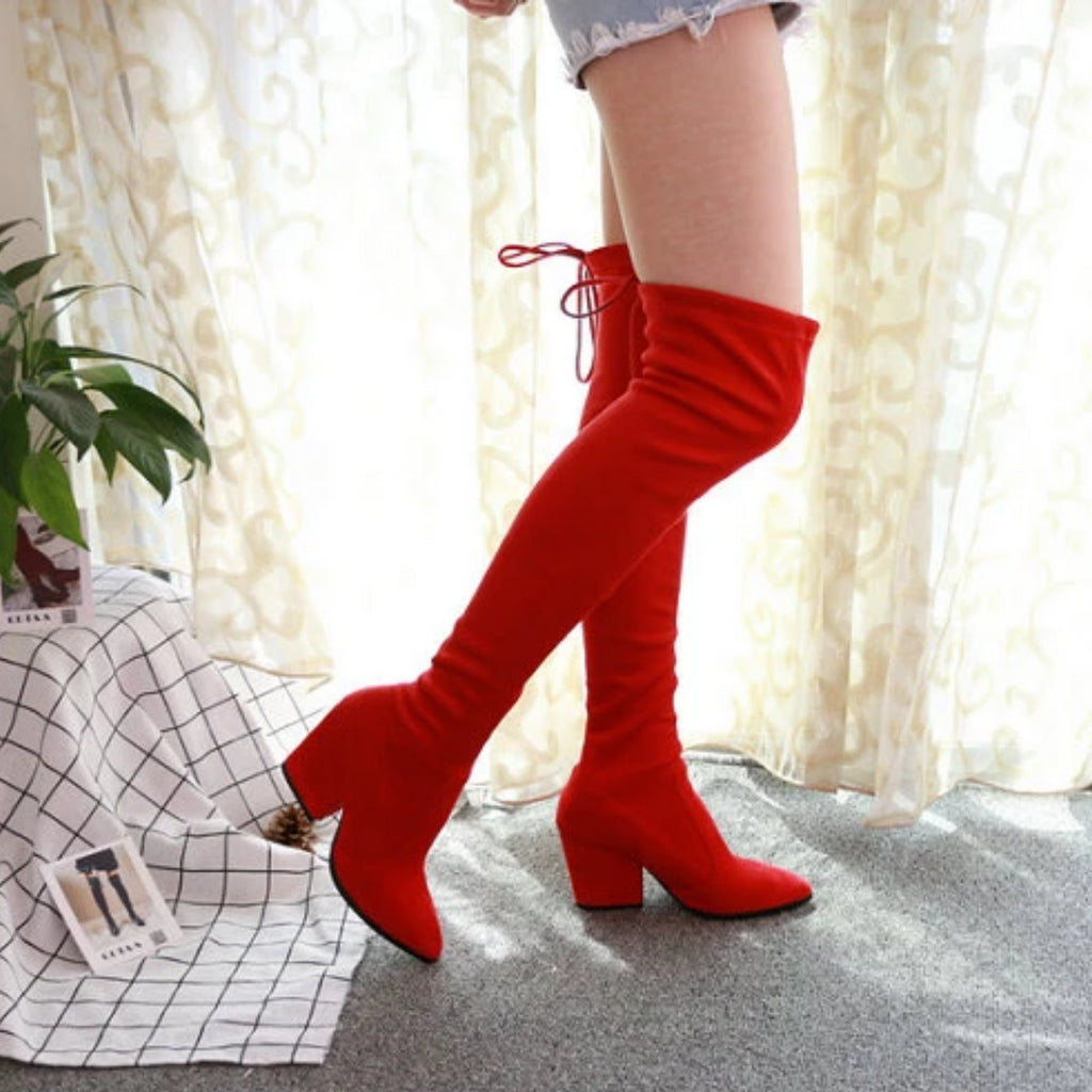 Women's Autumn/Winter Lace-Up High Boots High Heels