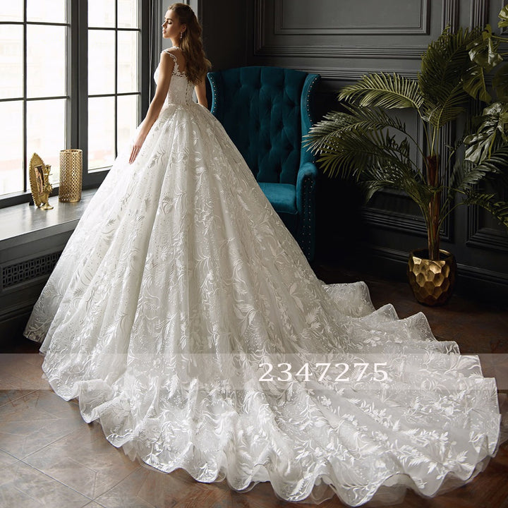 Women's Lace Sleeveless Long Wedding Dress With Beads
