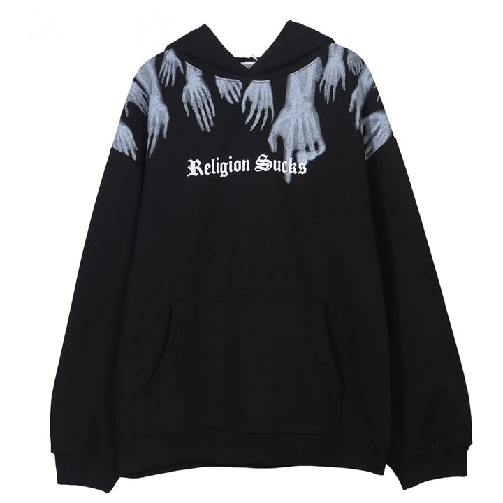 "Women's Casual Fleece Hooded Sweatshirt ""Religion Sucks"""