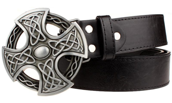 Men's Leather Belt With Round Buckle