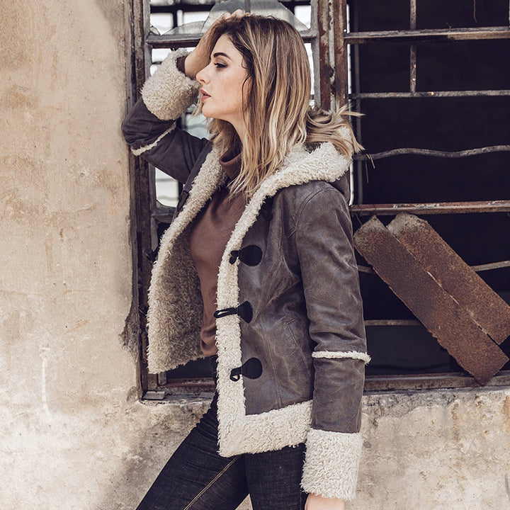Women's Genuine Leather Hooded Jacket