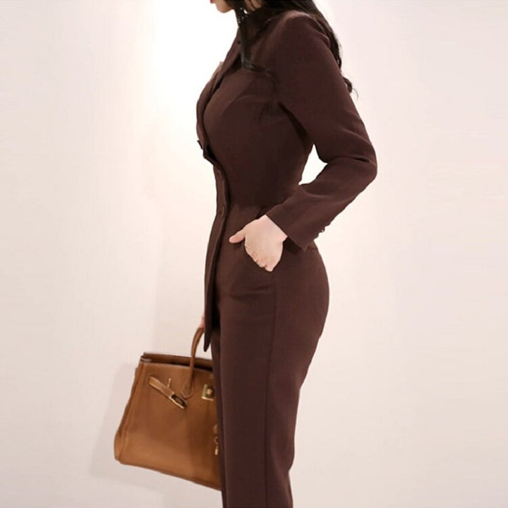 Women's Spring/Autumn Polyester Long-Sleeved Jumpsuit