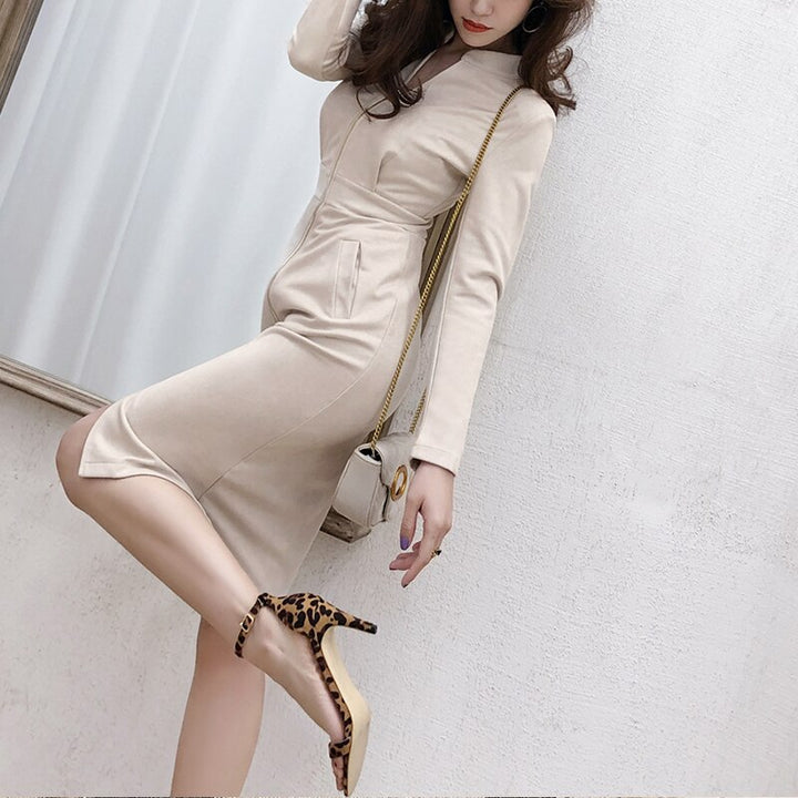 Women's Spring/Autumn High-Waist Sheath V-Neck Dress