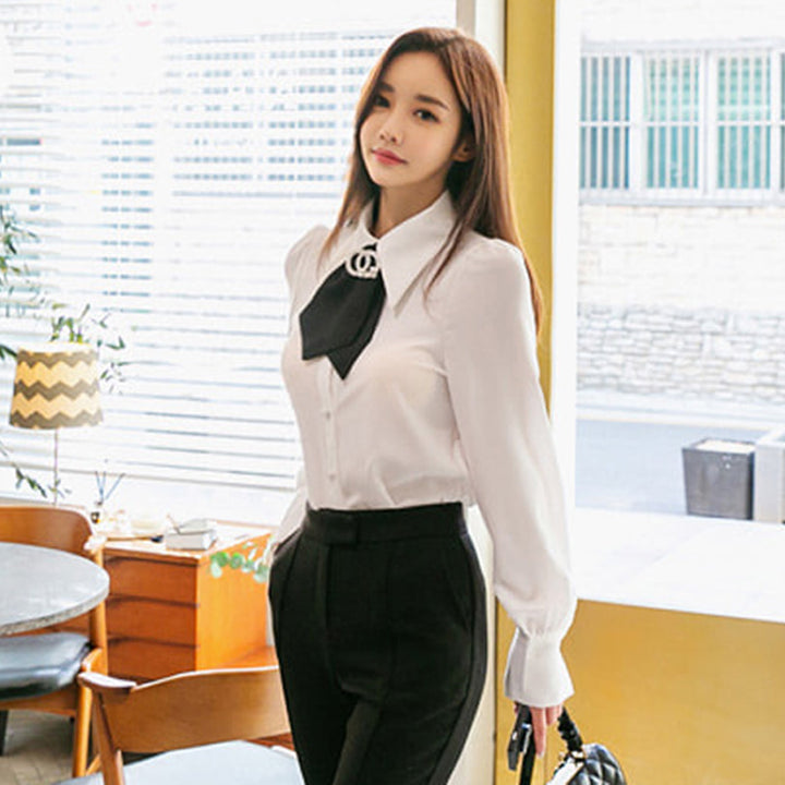 Women's Spring Casual Polyester Puff-Sleeved Shirt