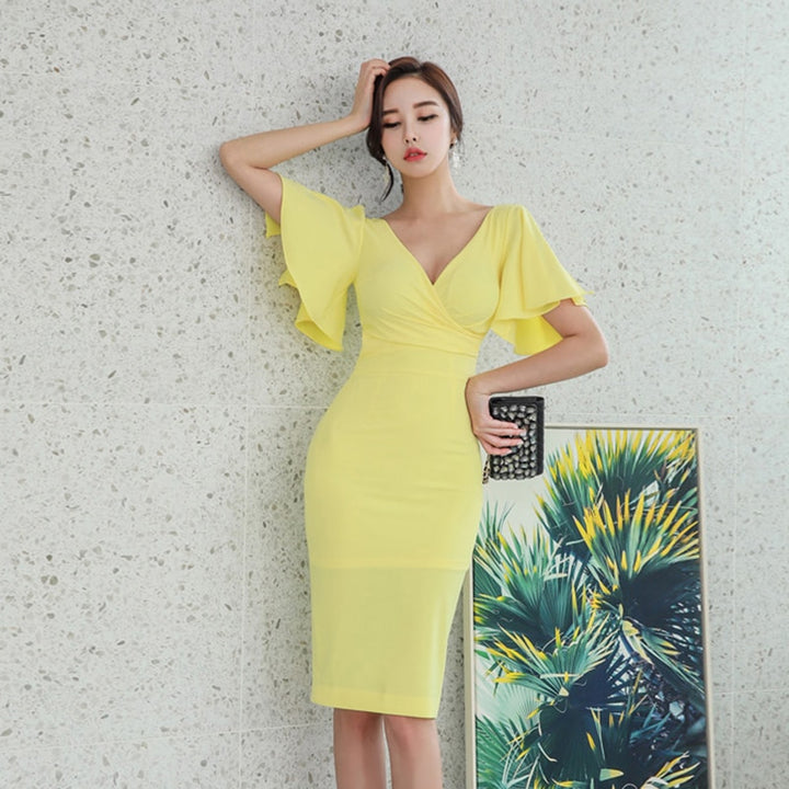 Women's Summer V-Neck Sheath Midi Dress With Ruffles