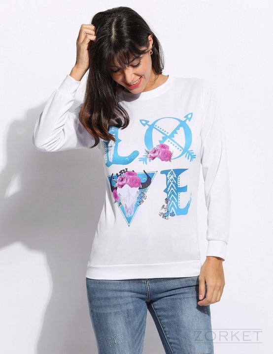 Women's Sweatshirt With 3D Print Of Floral Letter LOVE - Zorket