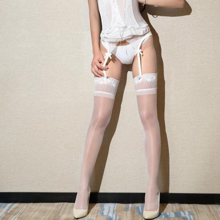 Women's Thin Shiny Elastic Stockings With Lace