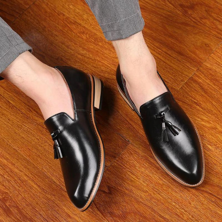 Men's  Leather Slip-Ons With Pointed Toe