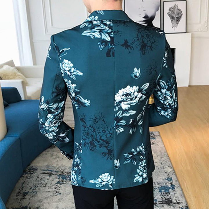 Men's Autumn Blazer With Floral Print