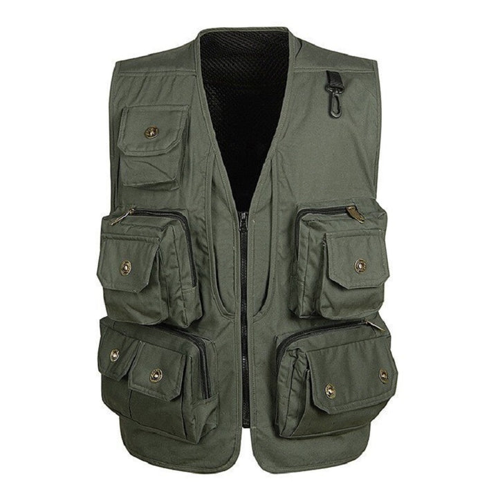 Men's Casual Polyester V-Neck Vest With Pockets