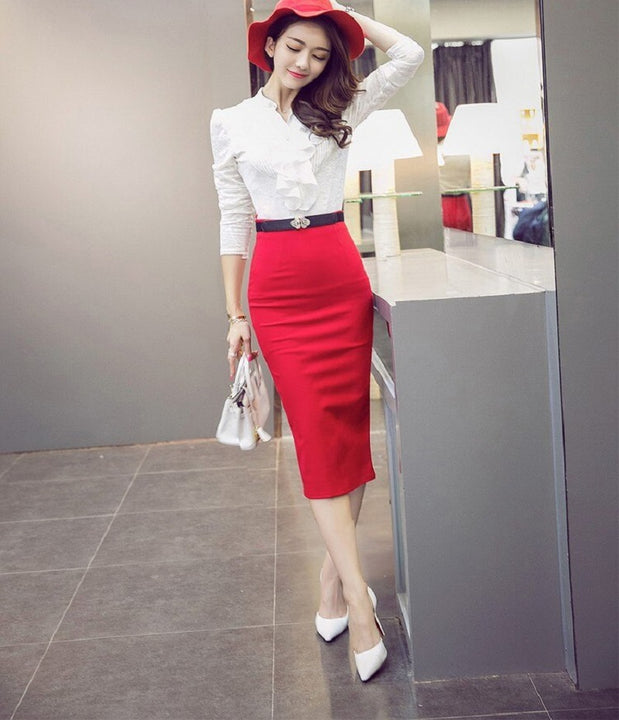 Women's Casual High-Waist Slim Stretch Skirt