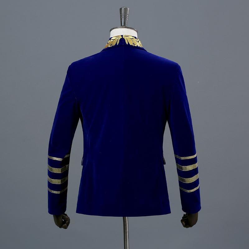 Men's Double Breasted Suede Blazer With Embroidery