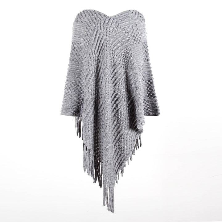 Women's Autumn/Winter Casual Knitted Poncho With Tassels
