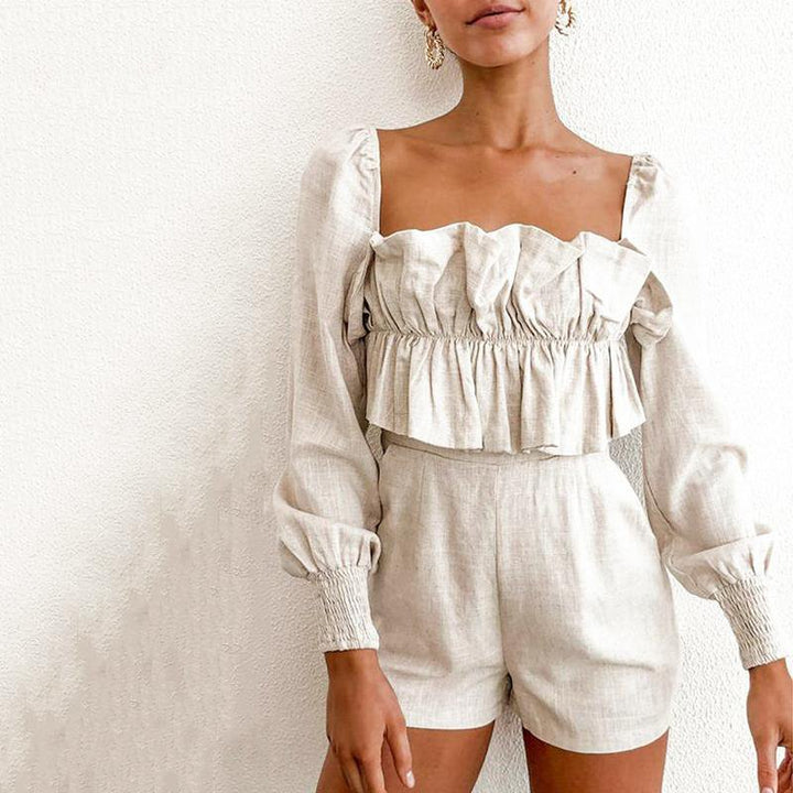 Women's Summer Casual Ruffled Long-Sleeved Short Romper