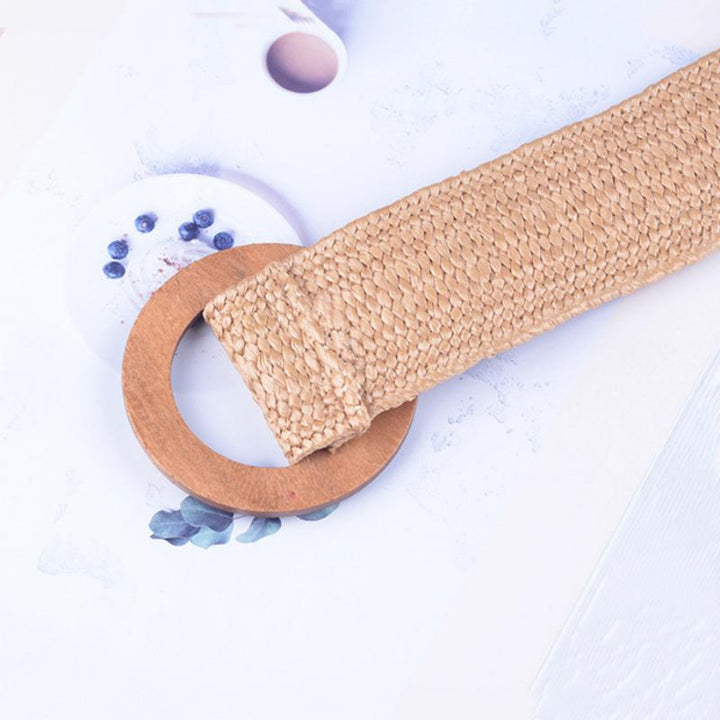 Women's Casual Elastic Belt With Wooden Buckle
