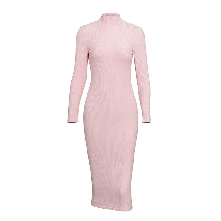 Women's Autumn/Winter Ribbed Sweater Sheath Dress
