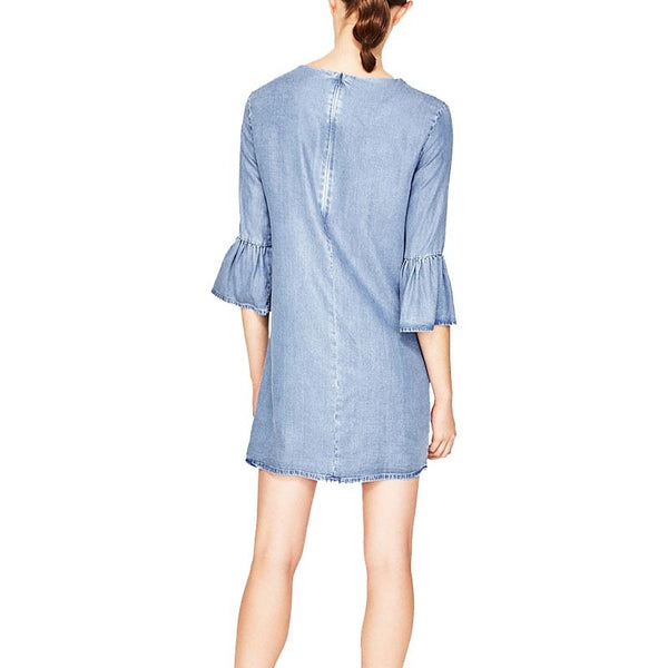 Flare Sleeve O-Neck Denim Dress