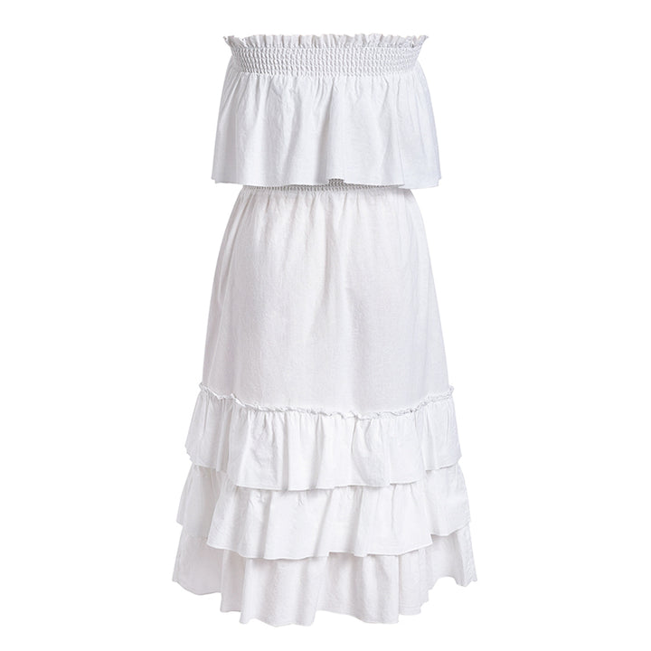 Women's Summer Casual Linen High-Waist Ruffled Long Dress