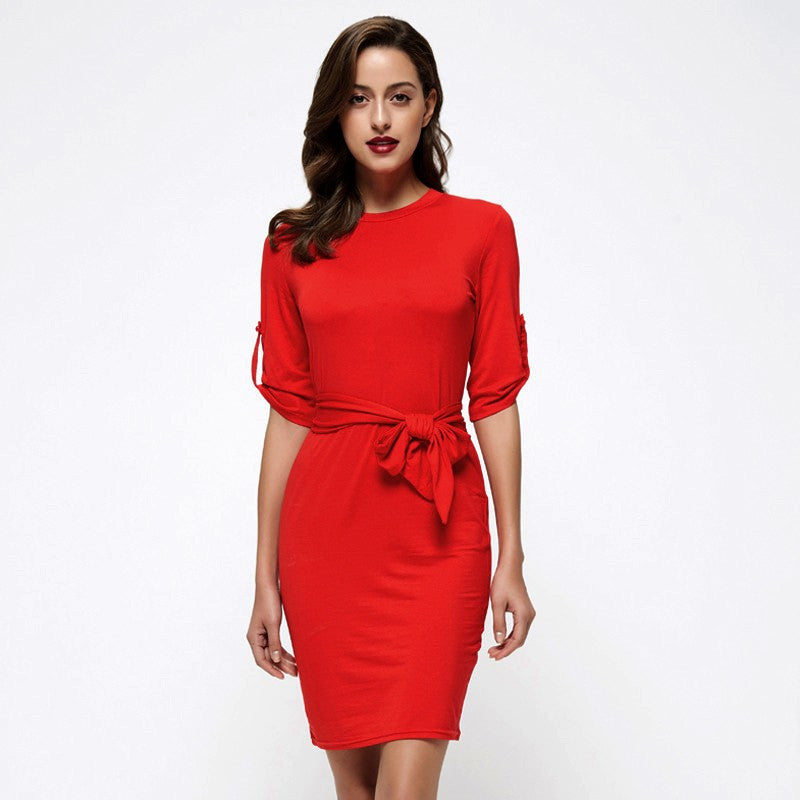 Knee-Length Dress With Half Sleeves - Zorket