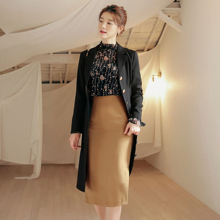 Women's Spring/Summer Long-Sleeved Polyester Sheath Blazer