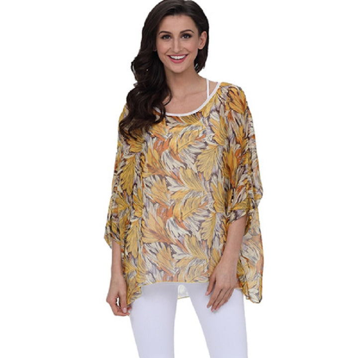 Women's Summer Casual Loose Chiffon Blouse With Print | Plus Size