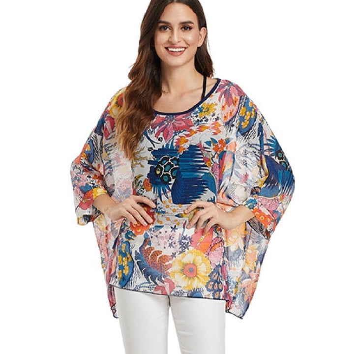 Women's Summer Casual O-Neck Loose Blouse With Print | Plus Size
