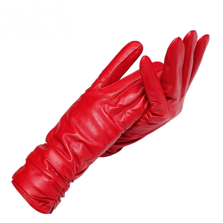 Women's Winter Genuine Leather Short Gloves