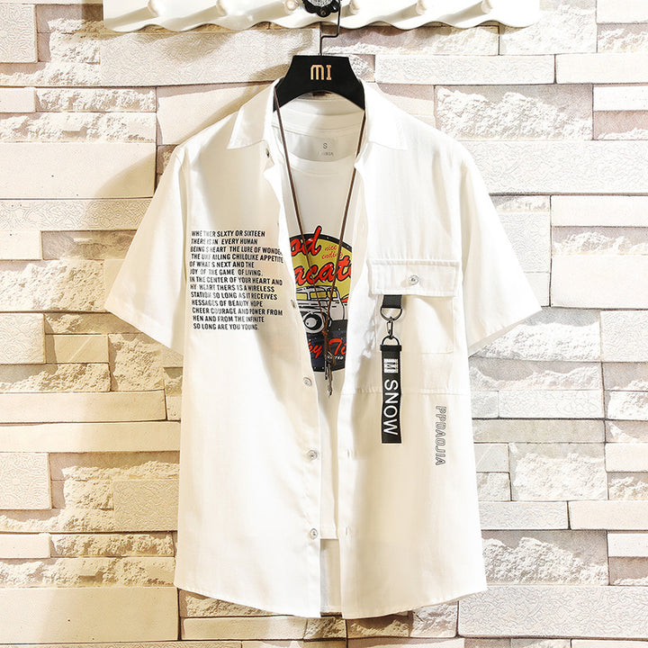 Men's Summer Casual Loose Short-Sleeved Cotton Shirt