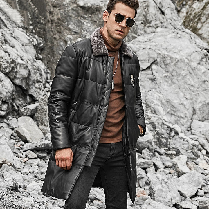Men's Winter Genuine Leather Coat With Removable Fur Collar