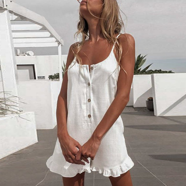 Women's Summer Casual Polyester Ruffled Loose Romper