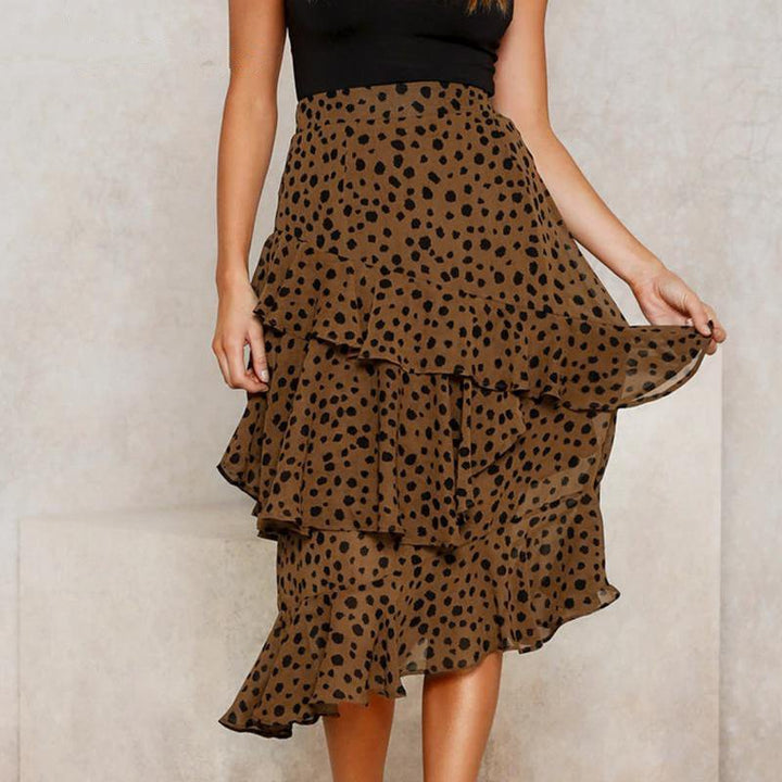 Women's Casual Asymmetrical High-Waist Ruffled Skirt