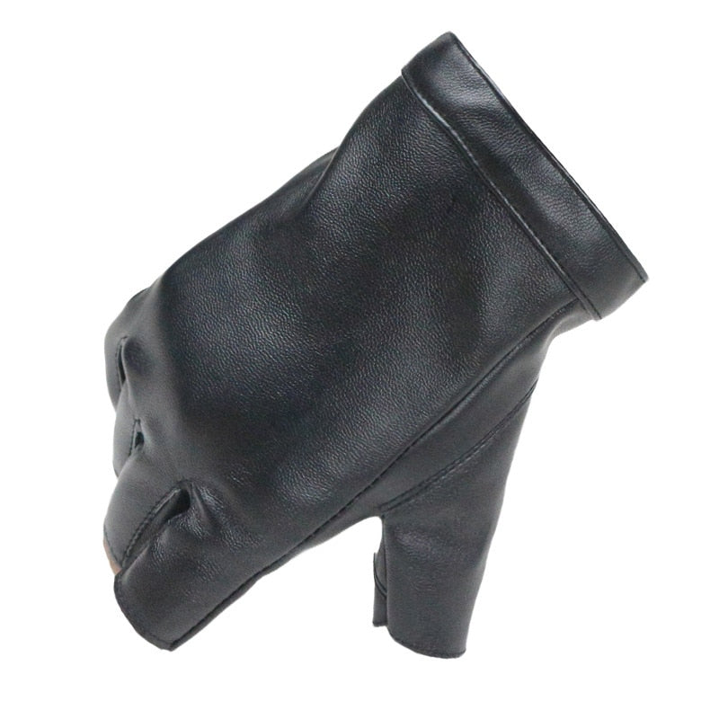 Women's Leather Fingerless Thin Gloves