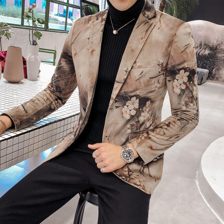 Men's Casual Slim Fit Blazer With Flower Print
