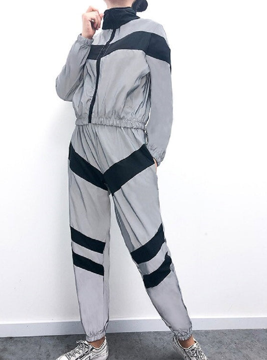 Women's Spandex Reflective Striped Two-Piece Suit