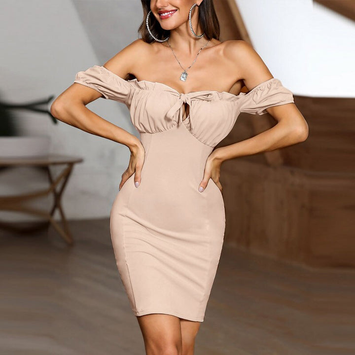 Women's Summer Lace-up Sheath Off-Shoulder Mini Dress