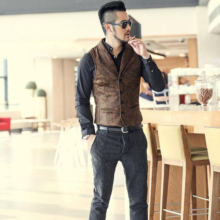 Men's Single Breasted Leather Vest