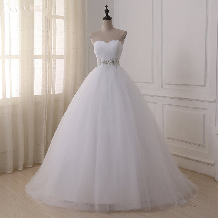Women's Off-Shoulder Lace-Up Wedding Dress With Corset