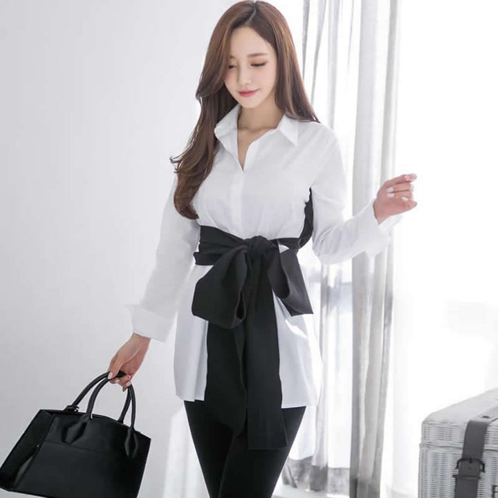Women's Spring Casual Polyester Lace-Up Shirt
