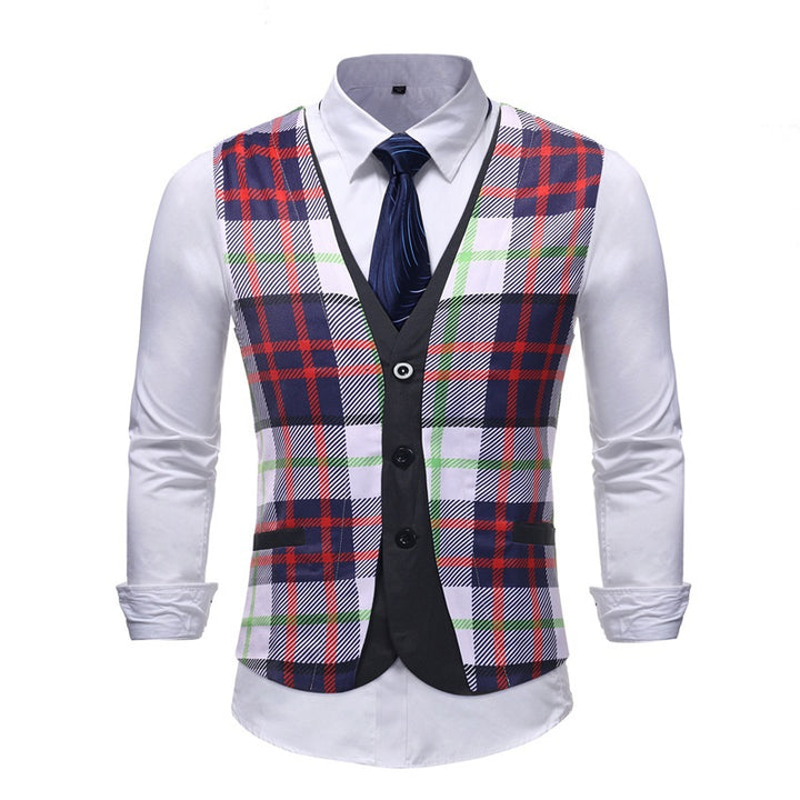 Men's Single Breasted Plaid Vest