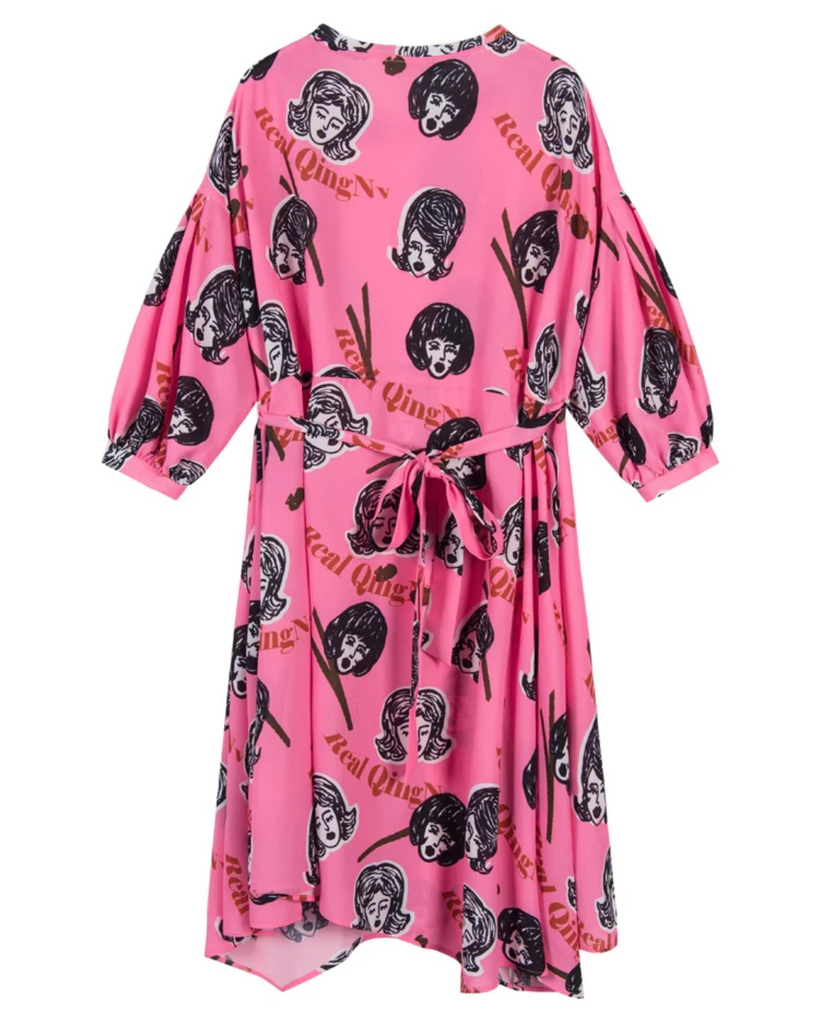 Women's Summer Casual Asymmetry O-Neck Dress With Print